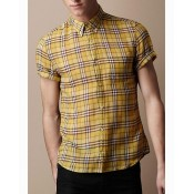 Burberry Blanc Manches Courte Chemise Homme Soldes Londres