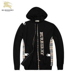 Burberry WebVeste Homme Zippe Noir Sweat Capuche Manches Longues Factory Shop