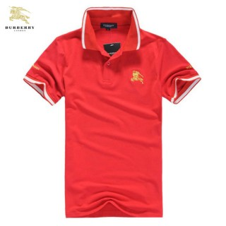 Burberry Rouge Polo T Shirt Homme Manches Courte Trench Occasion
