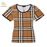 Burberry T Shirt Femme Manches Courte Marron Col Rond Cravate