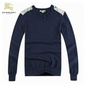 Burberry Pull Homme Manches Longue Uni Bleu Pullover Col V Online Store