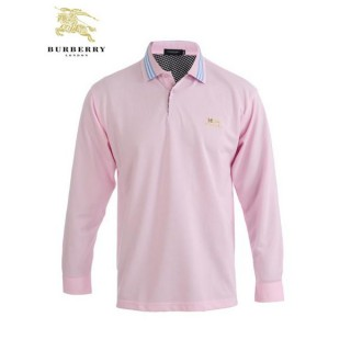 Burberry Manches Longue Uni T Shirt Homme Rose Polo Official Website