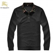 Burberry Pullover Noir Polo Pull Homme Manches Longue Cravate