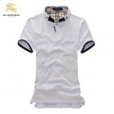 Burberry Col Montant T Shirt Homme Uni Manches Courte Blanc Montpellier