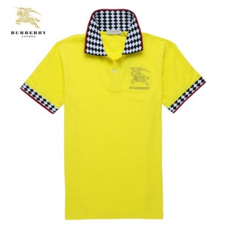 Burberry Jaune Uni Manches Courte T Shirt Homme Polo Maquillage