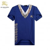 Burberry T Shirt Homme Bleu Col V Manches Courte Factory Outlet