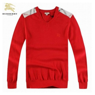Burberry Col V Pull Homme Pullover Rouge Manches Longue Maquillage