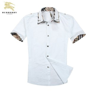 Burberry Chemise Homme Blanc Manches Courte Soldes