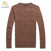 Burberry Marron Manches Longue Pull Homme Pullover Col Rond Paris Boutique