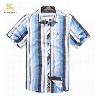Burberry 2017 Manches Courte Rayures Chemise Homme Multicolor Outlet Online