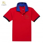 Burberry Polo Manches Courte Rouge Uni T Shirt Homme Outlet