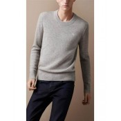 Burberry Pull Homme Pullover Col Rond Manches Longue Gris Uni Trench Prix