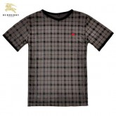 Burberry Marron Manches Courte Col V T Shirt Homme Carreaux Outlet Online