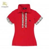 Burberry Manches Courte Rouge T Shirt Femme Uni Polo Imper Occasion
