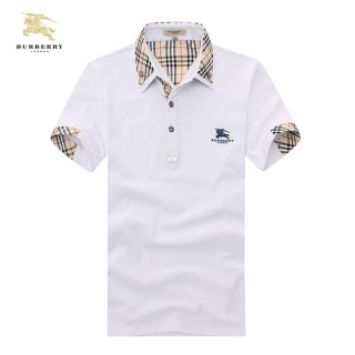 Burberry T Shirt Homme Manches Courte Polo Uni Blanc Destockage