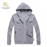 Burberry Sweat Gris Zippe Uni Manches Longues Capuche Veste Homme Boutique Paris