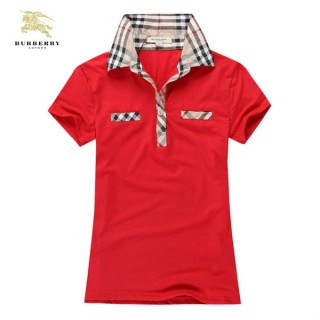 Burberry T Shirt Femme Manches Courte Rouge Uni Polo Montpellier