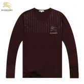 Burberry Manches Longue T Shirt Homme Marron Col V Fragrance