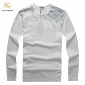Burberry Col Rond T Shirt Homme Manches Longue Blanc Vente Privee