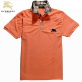 Burberry Orange T Shirt Homme Manches Courte Polo Logo Impermeable