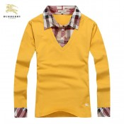 Burberry Polo Manches Longue Jaune Uni T Shirt Femme Nouvelle Collection