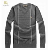 Burberry Pullover Pull Homme Manches Longue Gris Col V Foulard Style