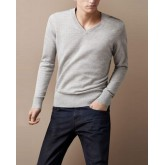 Burberry Uni Gris Pullover Manches Longue Pull Homme Col V Magasin Paris