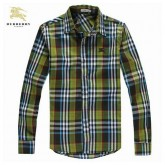 Burberry Chemise Homme Manches Longue Vert Foulard Style