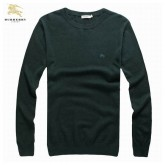 Burberry Col Rond Pullover Pull Homme Vert Manches Longue Fragrance