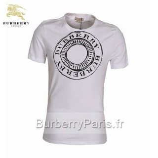 Burberry Blanc T Shirt Homme Manches Courte Uni Col Rond Occasion