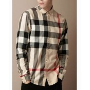 Burberry Chemise Homme Manches Longue Beige Nouvelle Collection