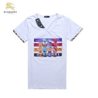 Burberry Col V Impression Graphique Manches Courte T Shirt Homme Blanc Cravate