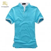 Burberry Manches Courte Col Montant Bleu T Shirt Homme Imper Occasion