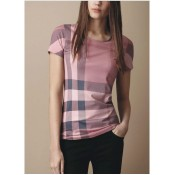 Burberry Manches Courte T Shirt Femme Gris Col Rond Fragrance