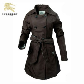 Burberry Manteau Manches Longues Uni Polo Veste Femme Marron Boutons Maquillage