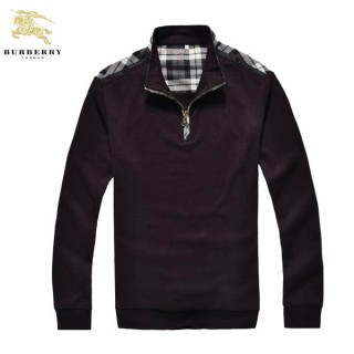 Burberry Pull Homme Rouge Col Montant Pullover Manches Longue Outlet Store Online