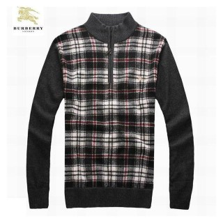 Burberry Pullover Manches Longue Gris Pull Homme Col Montant En Solde