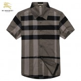 Burberry Gris Chemise Homme Manches Courte Carreaux Trench Soldes