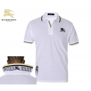 Burberry Manches Courte T Shirt Homme Blanc Polo Logo Madeleine