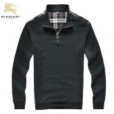 Burberry Manches Longue Pull Homme Col Montant Pullover Gris Montpellier