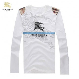 Burberry T Shirt Homme Col Rond Blanc Manches Longue Logo Foulard Style