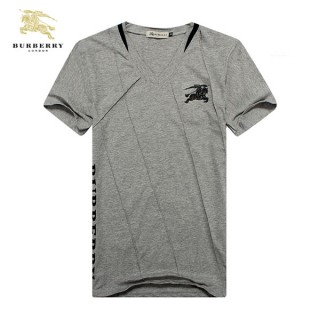 Burberry T Shirt Homme Col V Manches Courte Gris Maquillage