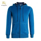 Burberry Capuche Uni Sweat Bleu Veste Homme Zippe Manches Longues Outlet Londres