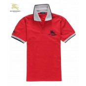 Burberry Manches Courte Polo Uni T Shirt Homme Rouge Foulard