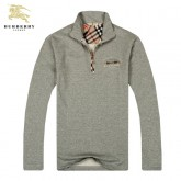 Burberry Manches Longues Col Montant Uni Veste Homme Sweat Gris Magasin France