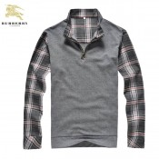 Burberry Pull Homme Col Montant Pullover Gris Manches Longue Outlet Londres