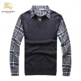 Burberry Manches Longue Pullover Pull Homme Gris Polo Foulard Style