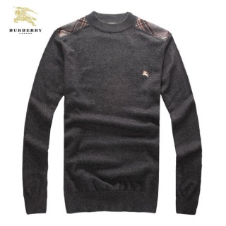 Burberry Col Rond Uni Pullover Pull Homme Gris Manches Longue Manteau