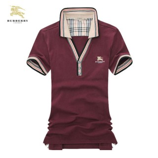 Burberry Manches Courte Uni Polo Rouge T Shirt Homme Outlet Store Online