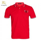 Burberry T Shirt Homme Uni Rouge Manches Courte Polo Destockage